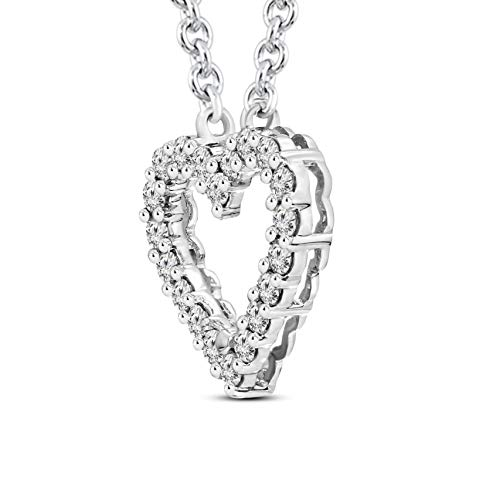 Mothers Day Gift 1/2 ctw IGI Certified Heart Necklace For Women Natural Diamond Heart Pendant I1-GH Quality 10K Gold 100% Real Diamond Pendant (1/2 ctw, White Gold) (Jewelry Gifts For Mothers Day) by TANACHE (Image #1)