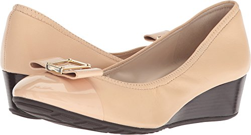 Bow Detail Leather - Cole Haan Womens Emory 40mm Bow Wedge II Nude Leather 8 B - Medium