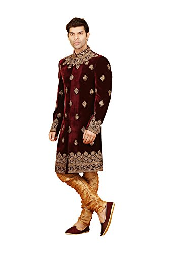 Jaipur Collections Mens Indo Western Wedding Wine Designer Partywear Traditional R-25423 by Jaipur Collections
