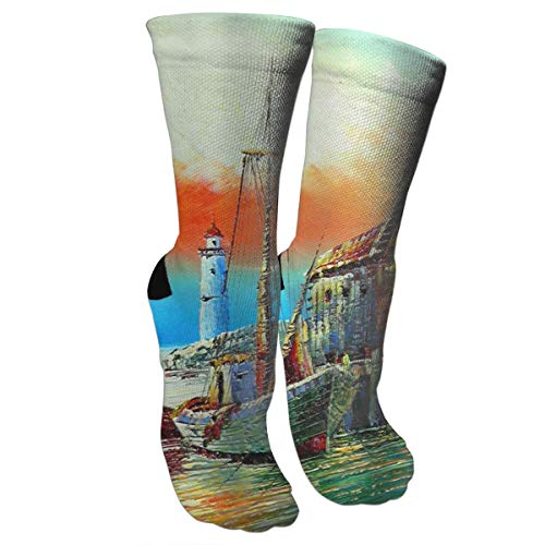 JDOSKJ Antique Pirate Ship Vintage Lighthouse Sailboat Compression Socks Knee High Socks Athletic Socks for Running, Medical, Athletic, Edema, Diabetic -