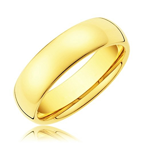 King Will 6mm 24k Gold Plated High Polished Comfort Fit Domed Tungsten Ring Wedding Band(8)