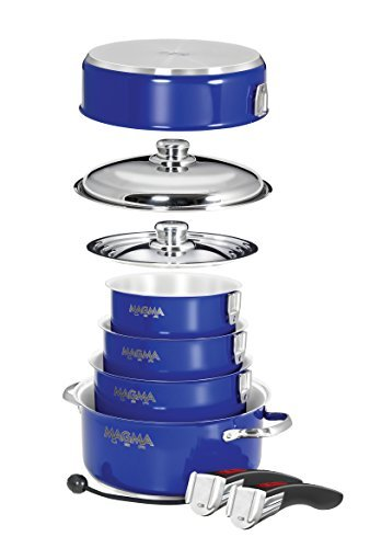 Magma Products Gourmet Nesting 10-Piece Induction Cobalt Blue Stainless Steel Cookware Set by Magma Products