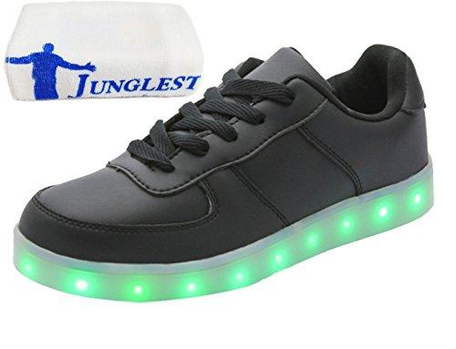 (Present:kleines Handtuch)JUNGLEST Unisex 7 Farbe Farbwechsel USB Aufladen LED Leuchtend Sport Schuhe Sneaker Turnschuhe für D Schwarz