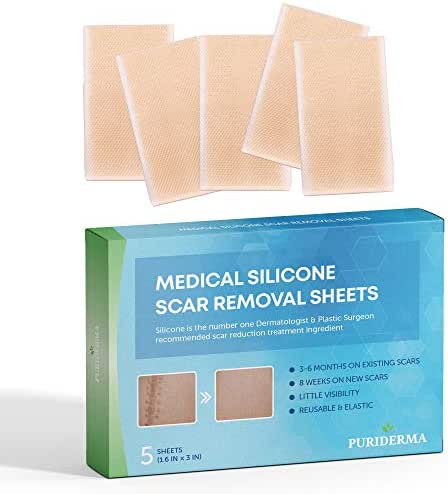 Puriderma Medical Silicone Scar Removal Sheets [Set of 5] - Fast & Effective on Keloid, Surgery, Burn, Acne, C-Section Scars
