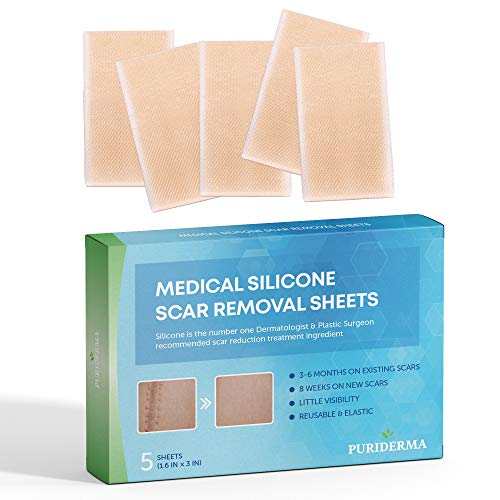 (Puriderma Medical Silicone Scar Removal Sheets [Set of 5] - Fast & Effective on Keloid, Surgery, Burn, Acne, C-Section Scars)