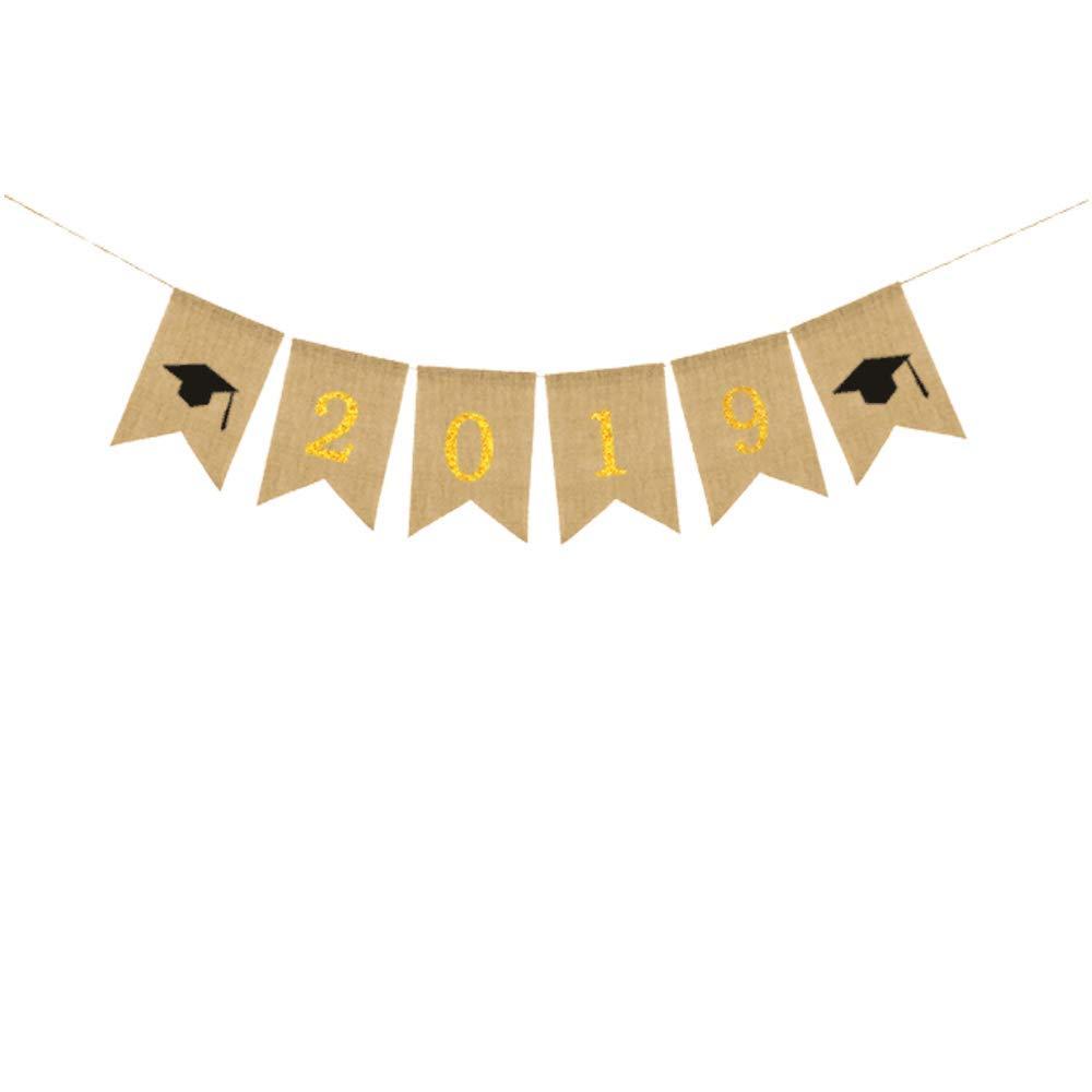 卒業式用バナー 2019 バナー 黄麻布 旗 ガーランド 卒業パーティーの装飾用 ゴールド   B07L5CQH7S