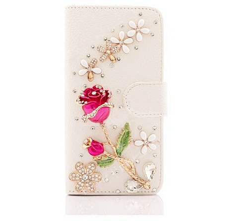 Price comparison product image XKAUDIE(TM) New 3D Luxury Flower Bling Diamond Rhinestone Wallet Leather Case Cove For Smart Mobile Phones(LG G Vista 2 Phone)