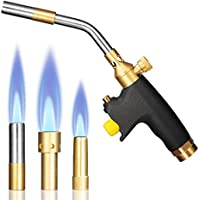 Adjustable Brazing & Soldering Torch - Self-Lighting Propane Torch High Intensity Trigger Start Torch Heavy Duty Gas Welding Torch Head,Use With MAPP/MAP Pro/Propane