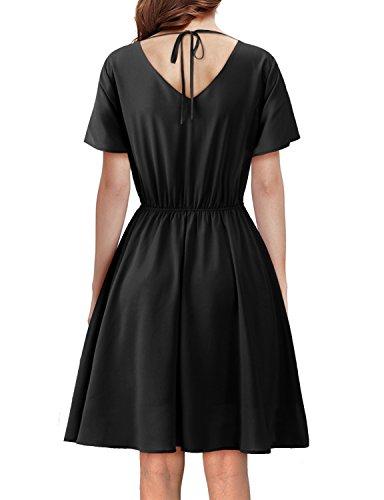 Regna X BOHO for womans basic casual v neck black 2xl plus size big chiffon midi knee length dress,Black,XX-Large Plus Rose Band Tea Setting