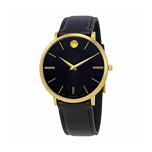 Movado Ultra Slim Black Sunray Dial Men's Watch (Large Image)