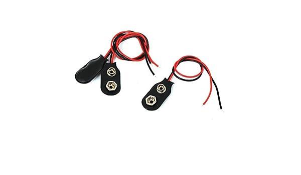 eDealMax 3 piezas de 15 cm de hilo Clip Soft Shell 9V batería de 9 voltios I Tipo de conector hebillas - - Amazon.com