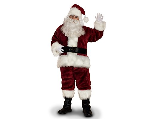 Sunnywood Men's Supreme Santa Claus Suit, Burgandy/White, Large