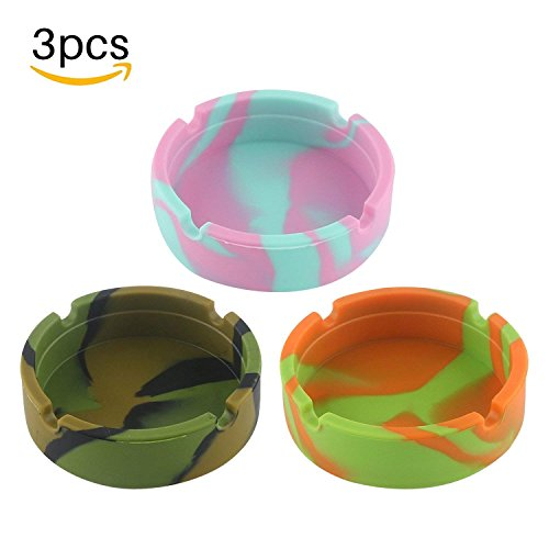 WINIT 3-Pack Silicone Ashtray, Eco-Friendly Portable Unbreakable Silicone Rubber Ashtray, Heat Resistant Round Shape Camouflage Durable Tabletop ()