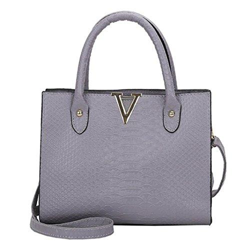 YJYdada Woman Crossbody Bags Leather Handbag Alligator Pattern Shoulder Bag (Gray)