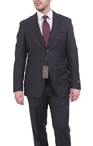 - Canali Kei Collection Classic Fit 38r 48 Drop 6 Navy Striped Flannel Wool Suit