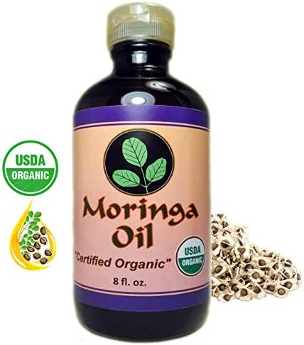 Moringa Energy Oil USDA Organic, 100% Pure Moringa Seed Oil, Cold Pressed, 8 oz glass bottle. Use to Rejuvenate, moisturize and heal dry Skin & Hair with our Pure Food Grade Oil.