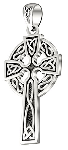 (US Jewels And Gems Mens 0.925 Sterling Silver 1.625in Irish Celtic Knot Cross Pendant Antique Finish)