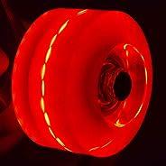 UXELY 4pcs Luminous Skateboard Wheels Replacement Wheels Quad Skates Rollers for Double Roller Skating Skatebo