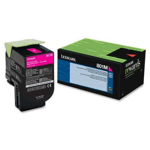 Lexmark International, Inc - Lexmark 801M Magenta Return Program Toner Cartridge - Magenta - Laser - 1000 Page - 1 Each - Oem ''Product Category: Print Supplies/Ink/Toner Cartridges'' by Lexmark