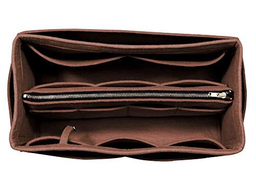 - [Fits Neverfull MM/Speedy 30, Dark Brown] Purse Insert (3mm Felt, Detachable Pouch w/Metal Zip), Felt Tote Bag Organizer