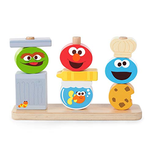 Bright Starts Mix & Match Sesame Street Friends Wooden Stacking Toy, Ages 18-36 Months