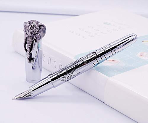 Fuliwen Fountain Pen Elephant Head On Cap, Delicate Silver Signature Pen, Medium Nib Business Office Home School Supplies ()