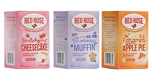 Red Rose Sweet Temptations Herbal Tea 3 Pack Gift Set! Includes Flavors Such As: Strawberry Cheesecake, Blueberry Muffin, Caramel Apple Pie! Your Favorite Desserts In A Delicious Drink!