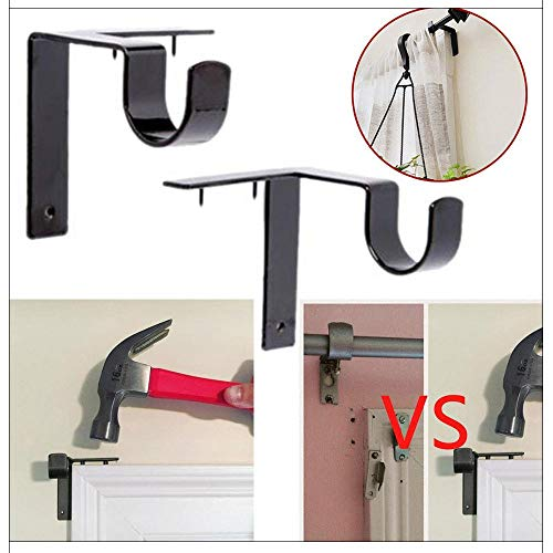 Rod Hook Single Pegboard - Aviat 2Pcs Hooks Single Hang Curtain Rod Bracket Shelf Holders Into Window Frame Fixed Storage Hook Home Decor (Black)