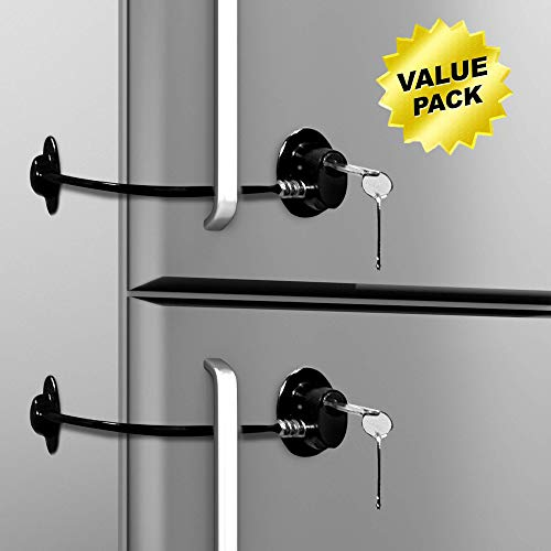 Loot Lock Fridge Lock, Stick On Lock for Refrigerator Door with 2 Keys with 3M VHB for Child Safety, Cabinet Lock, Dorm Fridge Lock, Compact Freezer Lock (2 Pack) (2 Pack Black)