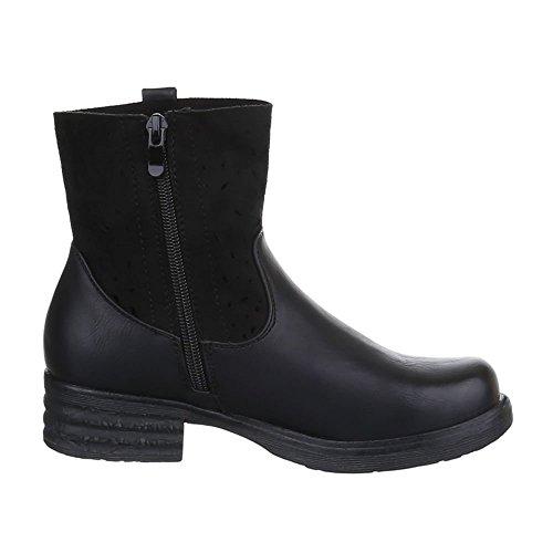 JA3097 Design Stiefeletten Boots Ital Damen Schwarz Schuhe w1qCFtF