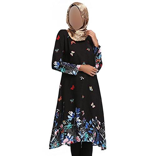 Xinvision Femmes Musulmanes Robe Lâche Vêtements Ethniques Minoritaires Hui Robe De Prière De L'église Impression Caftan Manches Longues Dinde Islamic Abaya Arabe, 077 # Noir