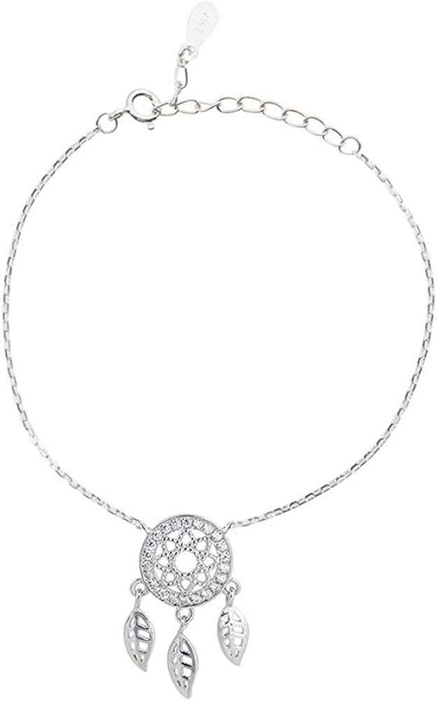 Allgut Bracelet de cheville r/églable en argent sterling 925 et oxyde de zirconium