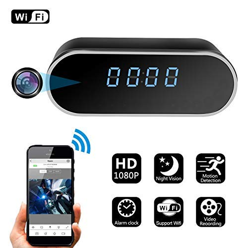 ZDMYING Spy Hidden Camera, HD 1080P Alarm Clock WiFi Cam, with Night Vision/Motion Detection/Loop Recording Home Surveillance Nanny Security Cameras