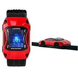 LGYNTO Kids Watches Boys Waterproof Sports Digital LED Wristwatches 7 Colors Flashing Car Shape Wrist Watches for Children,for Age 3-10 (Red)