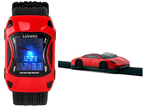 LGYNTO Kids Watches Boys Waterproof Sports Digital LED Wristwatches 7 Colors Flashing Car Shape Wrist Watches for Children,for Age 3-10 (Red) (Button Lightning Cars Mcqueen)