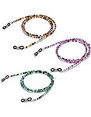 """Aabellay 3 قطعة سلسلة النظارات مكبرة حزام حامل حبال زجاجية للقراءة الحبل مطرز قلادة سلسلة معدنية طويلة قلادة الإكسسوارات â € """"B066"""