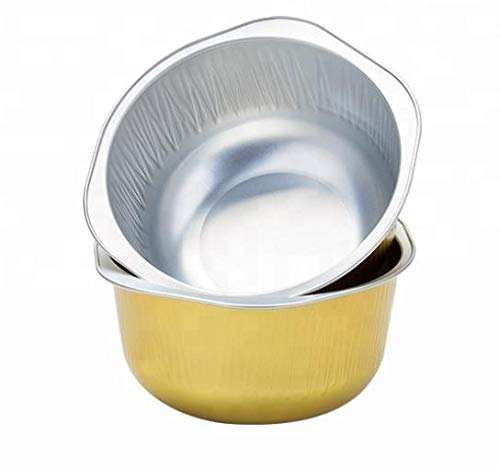 KEISEN 4 4/5 Inch 445ml 15oz Disposable Aluminum Foil Cups For Muffin Cupcake Baking Bake Utility Ramekin Cup (gold, 100)