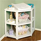 Badger Basket Corner Changing Table Bundle-49 White Diaper Corner Changing Table