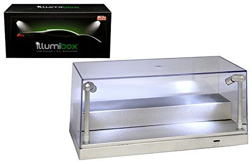 Illumibox 10'' USB Power L.E.D. Plastic Showcase with Riser (1:24 & 1:64 Scale Compatible) (Silver) - MiJo Exclusives
