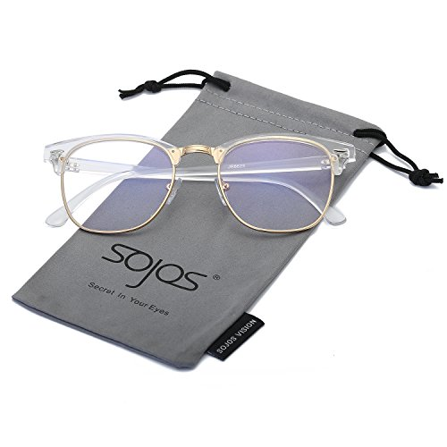 SojoS Classic Clubmaster Semi Rimless Eyewear Frame Clear Lens Eyeglasses SJ5018 (C7 Transparent Frame/Gold Rim, - Try On Eyeglasses