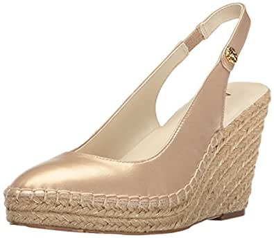 Anne Klein Women's Varya Leather Espadrille Wedge Sandal, Light Natural Leather, 10 Medium US