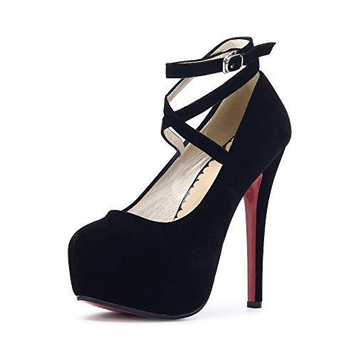Women Ankle Strap Platform Pump Stiletto Party Dress Heel #10 Black EU Size 46 - US B(M) 12