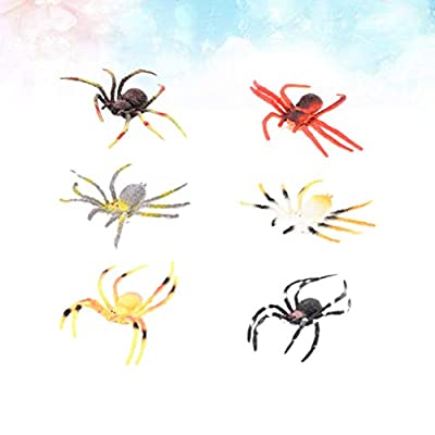 12pcs Plastic Simulation Plastic Spider Halloween Spiders Figurine Model Toy Kids Educational Learning Nature Animal Toy Prank Prop: Toys & Games