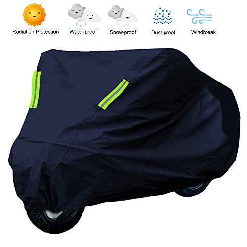 - TOP-MAX - Waterproof Motorcycle Bike Cover Breathable UV Protector Outdoor Anti Snow Dust - Outdoor&Indoor Large Cover Protection Windproof Dustproof (265x105x125cm)