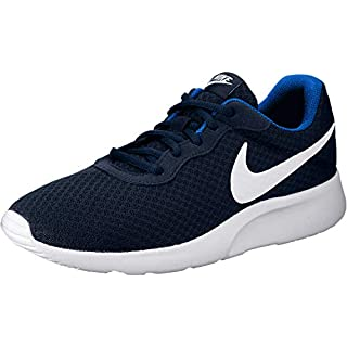 NIKE Men's Tanjun Sneakers, Breathable Textile Uppers and Comfortable Lightweight Cushioning, Midnight Navy/White Game Royal, 11