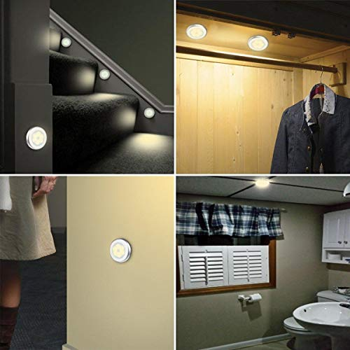 6 Packs Motion Sensor Light, Cordless Battery-Powered LED Night Lights for Hallway Bathroom Bedroom Kitchen, Closet Lights Stair Puck Lighting(Warm White)        Amazon imported products in Karachi