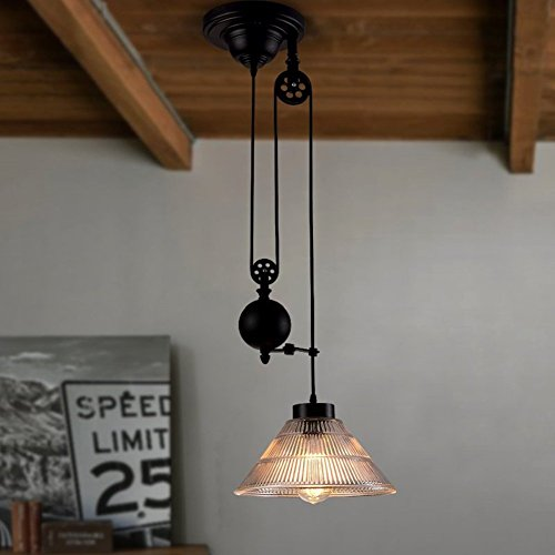 Vintage R Loft H Industrial Iron Pulley retractable Pendant Lights with Cone Ribbed Glass Adjustable Wire Lamps Retractable Ceiling Lighting (Cone Pulley)