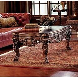 Design Toscano Lord Raffles Grand Hall Lion Leg Coffee Table, 55 Inch, Mahogany Wood, Walnut