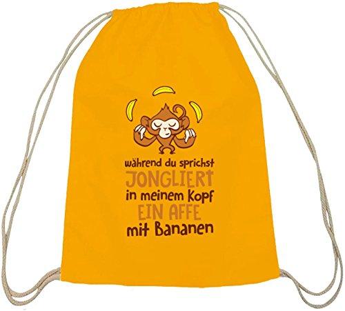 Shirtstreet24, Jonglierender Affe, Baumwoll natur Turnbeutel Rucksack Sport Beutel gelb natur