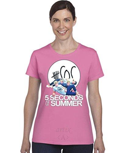 Artix A+ 5SOS 5 Seconds of Summer /w Faces SDL47 Women T-Shir Medium Azalea Pink